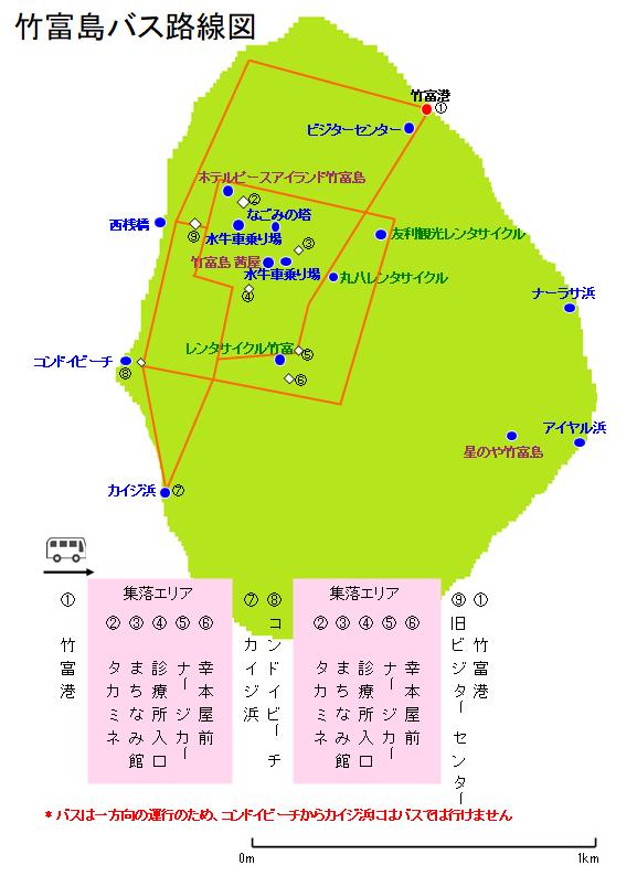竹富島バス路線図