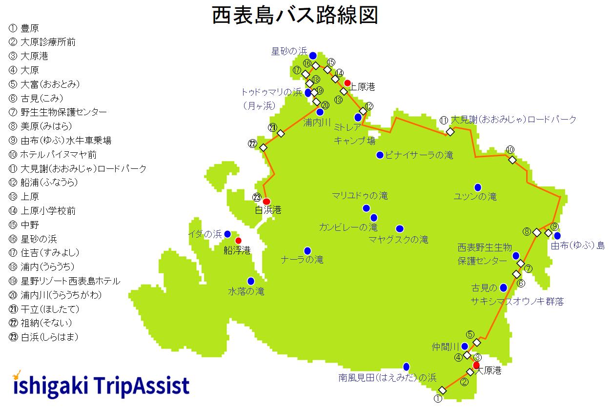 西表島バス路線図